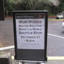 Free shuttle for those who park down the road. Photo by Frog Mom