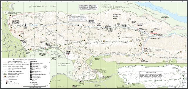 Redwood Regional Park trail map