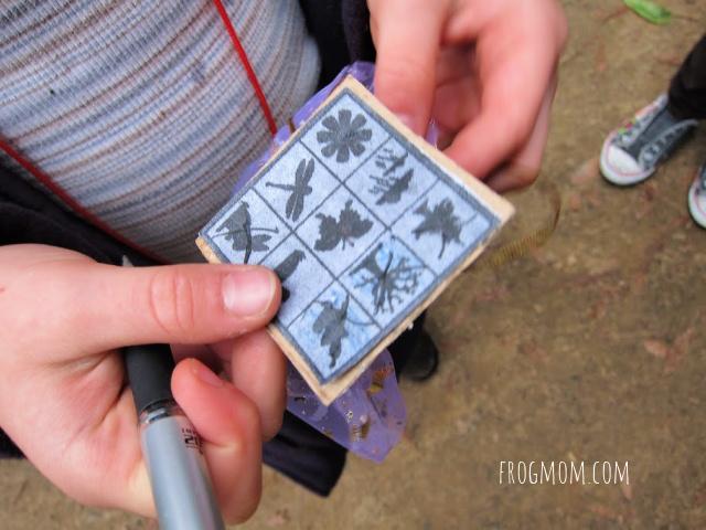 Nature bingo card in child's hands