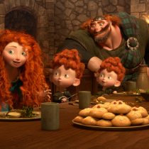 €œBRAVE (L-R) MERIDA amongst the triplets: HARRIS, HUBERT and HAMISH; KING FERGUS and QUEEN ELINOR.  ©2012 Disney/Pixar. All Rights Reserved.