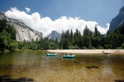 Rafting down Merced River