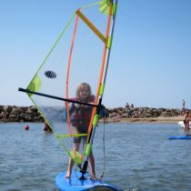 My 7-year old windsurfing on the Mediterranean