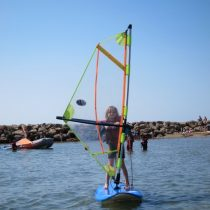 My 7-year old is windsurfing!