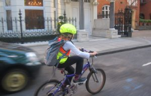 My 8-year old cruises the streets of London