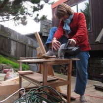 My friend Ashley busy with the circular saw