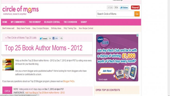 Circle of Moms Book Author Mom Top 25