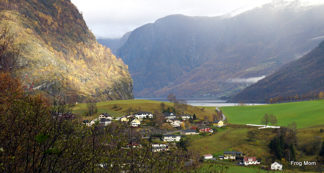 Flam, the village, viewed from the waterfall in the mountains