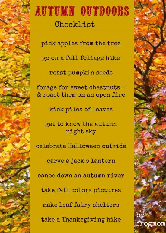 autumn outdoors checklist