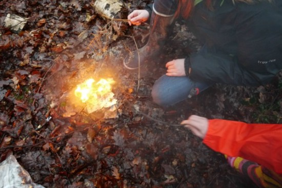 Fire going