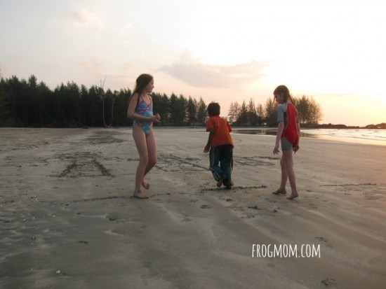 Things to do at the beach with kids - Sand Hopscotch