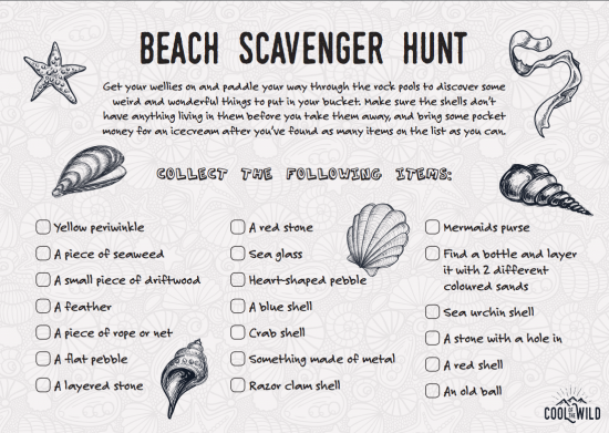 Things To Do At The Beach With Kids Scavenger Hunt