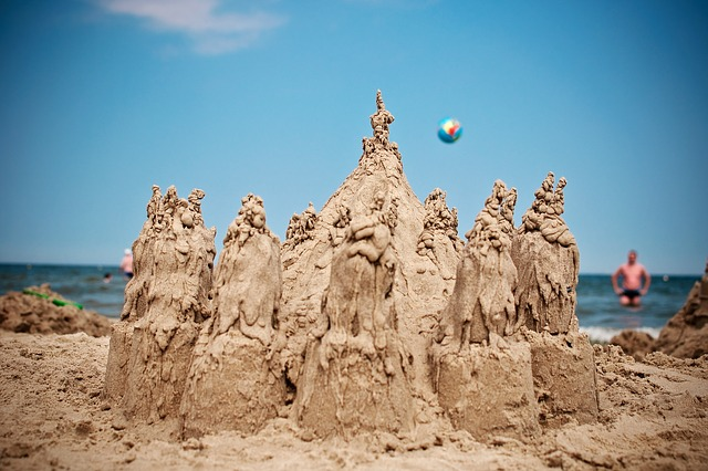 Things to do at the beach with kids - Drip Sand Castle