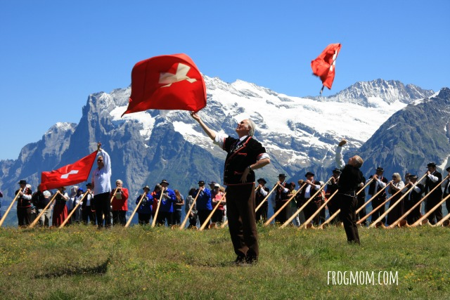 Aletsch-Jungfrau World Heritage Site - Flag bearer and Alphorns