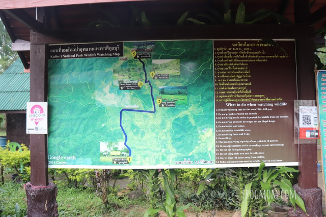 Kui Buri National Park, map of existing trails and features, Thailand