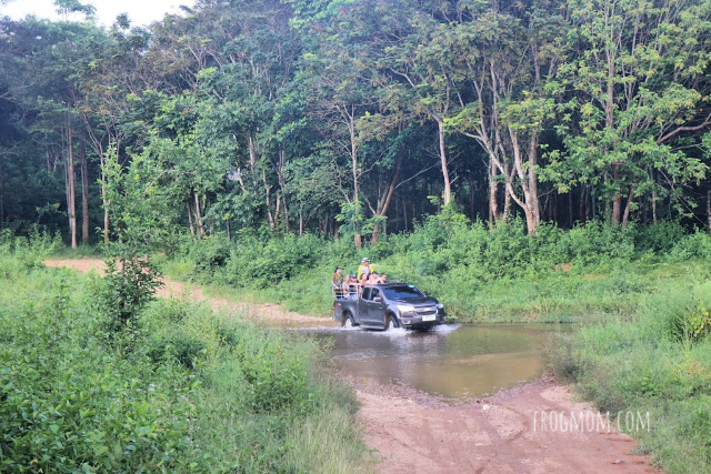 River fording with a safari pickup, Kui Buri National Park, Thailand