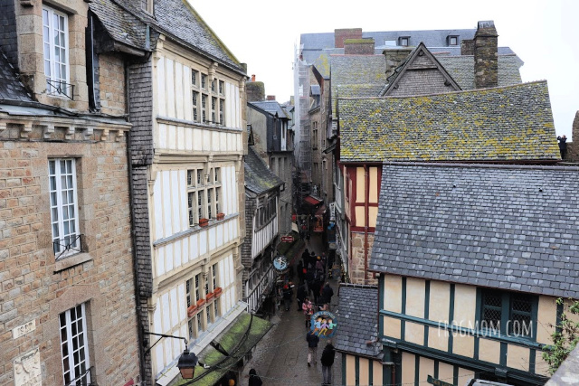 Looking down on narrow streets from the ramparts of the city, Mont St Michel