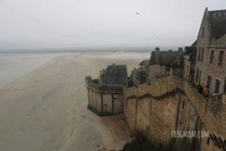 Stairs on ramparts, Mont St Michel