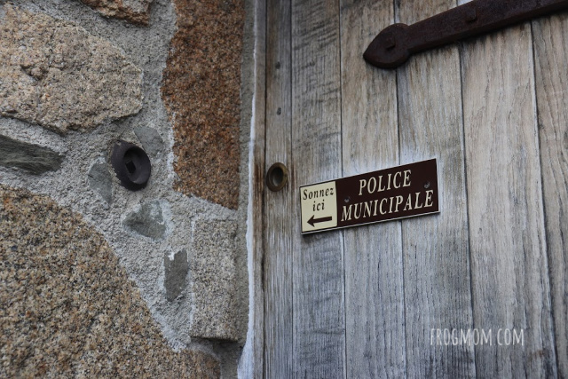 Mont St Michel police station door on ramparts