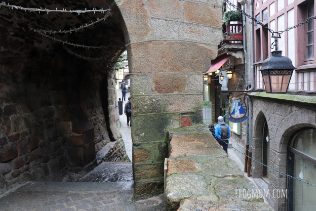 Covered passageway through old medieval town, Mont St Michel