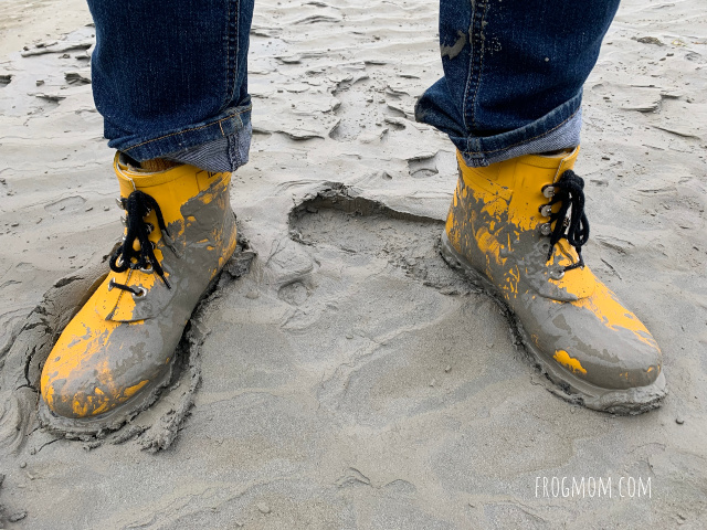 Rainboots in the mud, Mont St Michel