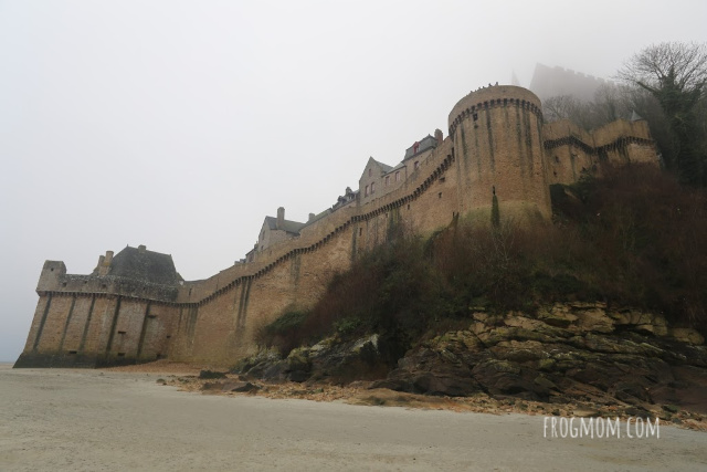 Ramparts from the sandy bay, Mont St Michel