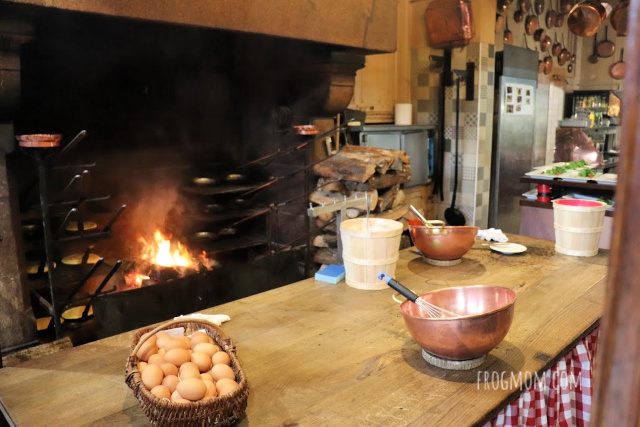 Wood fire in the kitchen at La Mere Poulard, Mont St Michel