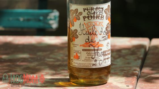 Olive oil in pear juice bottle