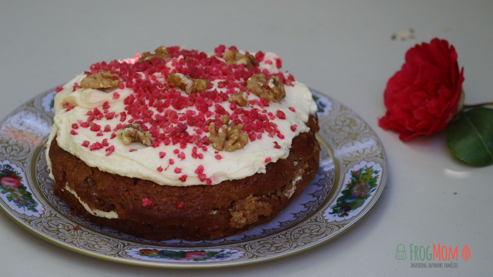 Carrot and fresh coconut cake on a plate