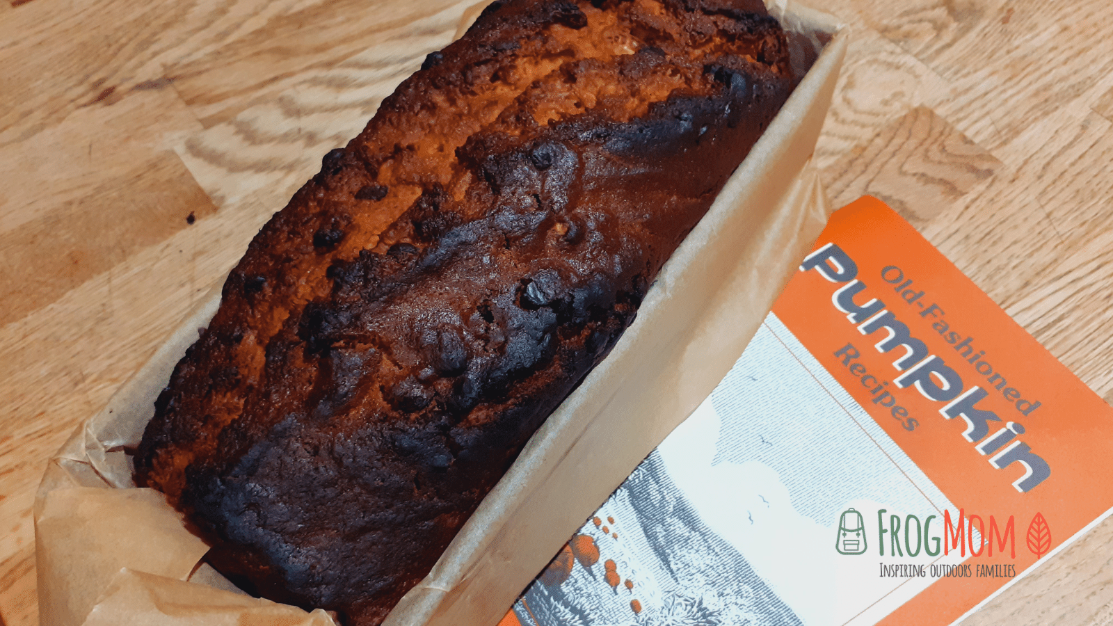 """Pumpkin walnut chocolate chips cake with """"Old-fashioned pumpkin recipes""""book"""